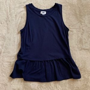 OLD NAVY navy ruffled peplum top
